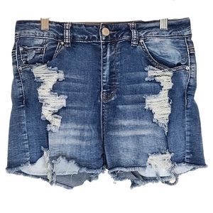 Streetwear Society Distressed High Waisted Shorts